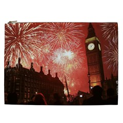 London Celebration New Years Eve Big Ben Clock Fireworks Cosmetic Bag (xxl)