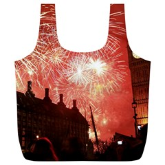 London Celebration New Years Eve Big Ben Clock Fireworks Full Print Recycle Bags (l)