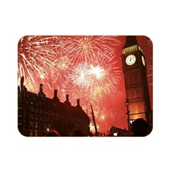 London Celebration New Years Eve Big Ben Clock Fireworks Double Sided Flano Blanket (mini)  by Sapixe