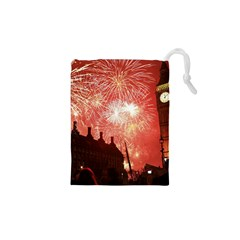 London Celebration New Years Eve Big Ben Clock Fireworks Drawstring Pouches (xs)  by Sapixe