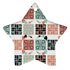 Mint Black Coral Heart Paisley Star Ornament (two Sides) by Sapixe