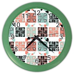 Mint Black Coral Heart Paisley Color Wall Clocks