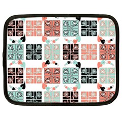 Mint Black Coral Heart Paisley Netbook Case (xxl)  by Sapixe
