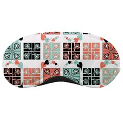 Mint Black Coral Heart Paisley Sleeping Masks by Sapixe