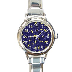 Moon Pattern Round Italian Charm Watch by Sapixe