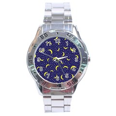 Moon Pattern Stainless Steel Analogue Watch
