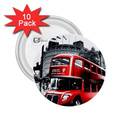 London Bus 2 25  Buttons (10 Pack)