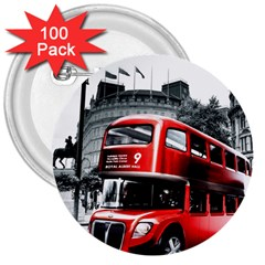 London Bus 3  Buttons (100 Pack)