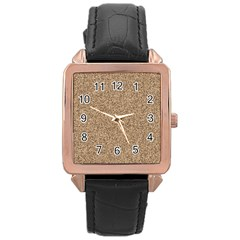 Mosaic Pattern Background Rose Gold Leather Watch