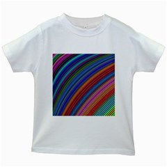 Multicolored Stripe Curve Striped Kids White T Shirts by Sapixe