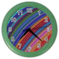 Multicolored Stripe Curve Striped Color Wall Clocks