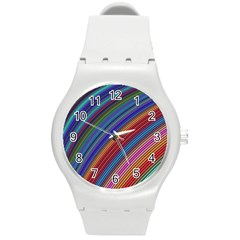 Multicolored Stripe Curve Striped Round Plastic Sport Watch (m) by Sapixe