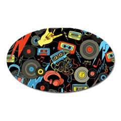 Music Pattern Oval Magnet