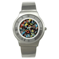 Music Pattern Stainless Steel Watch by Sapixe