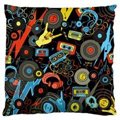 Music Pattern Large Flano Cushion Case (two Sides) by Sapixe