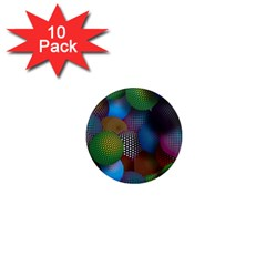 Multicolored Patterned Spheres 3d 1  Mini Magnet (10 Pack)