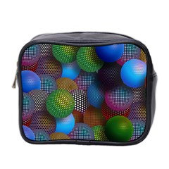 Multicolored Patterned Spheres 3d Mini Toiletries Bag 2 Side by Sapixe