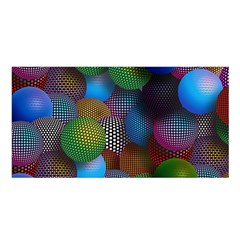 Multicolored Patterned Spheres 3d Satin Shawl by Sapixe
