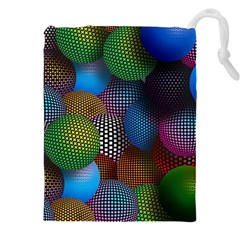 Multicolored Patterned Spheres 3d Drawstring Pouches (xxl) by Sapixe