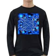 Network Connection Structure Knot Long Sleeve Dark T Shirts by Sapixe