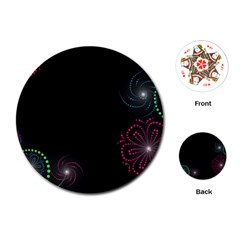 Neon Flowers And Swirls Abstract Playing Cards (round)