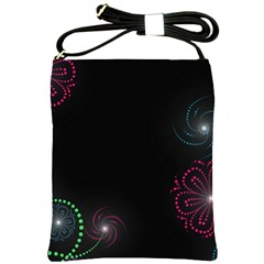 Neon Flowers And Swirls Abstract Shoulder Sling Bags