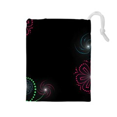 Neon Flowers And Swirls Abstract Drawstring Pouches (large)  by Sapixe
