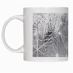 New Year Holiday Snowflakes Tree Branches White Mugs