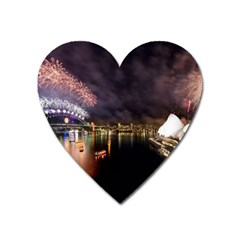 New Year's Evein Sydney Australia Opera House Celebration Fireworks Heart Magnet by Sapixe