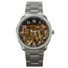 New York City At Night Future City Night Sport Metal Watch by Sapixe