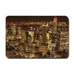 New York City At Night Future City Night Small Doormat  by Sapixe