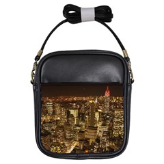 New York City At Night Future City Night Girls Sling Bags by Sapixe