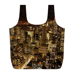 New York City At Night Future City Night Full Print Recycle Bags (l)  by Sapixe