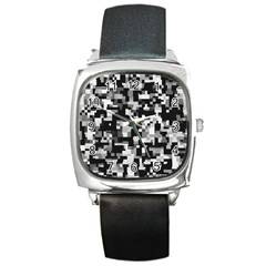 Noise Texture Graphics Generated Square Metal Watch