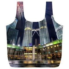 New Years Eve Petronas Towers Kuala Lumpur Malaysia Full Print Recycle Bags (l)  by Sapixe
