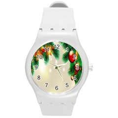 Ornament Christmast Pattern Round Plastic Sport Watch (m) by Sapixe