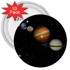 Outer Space Planets Solar System 3  Buttons (10 Pack)  by Sapixe