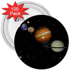 Outer Space Planets Solar System 3  Buttons (100 Pack)  by Sapixe