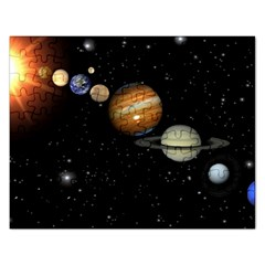 Outer Space Planets Solar System Rectangular Jigsaw Puzzl by Sapixe