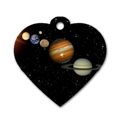 Outer Space Planets Solar System Dog Tag Heart (one Side) by Sapixe