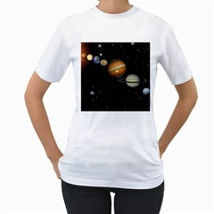 Outer Space Planets Solar System Women s T Shirt (white)  by Sapixe