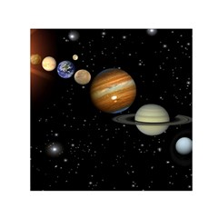 Outer Space Planets Solar System Small Satin Scarf (square) by Sapixe