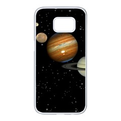 Outer Space Planets Solar System Samsung Galaxy S7 Edge White Seamless Case by Sapixe