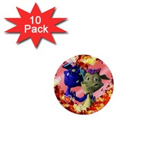 Ove Hearts Cute Valentine Dragon 1  Mini Buttons (10 Pack)