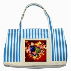 Ove Hearts Cute Valentine Dragon Striped Blue Tote Bag by Sapixe