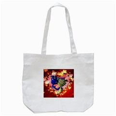 Ove Hearts Cute Valentine Dragon Tote Bag (white) by Sapixe