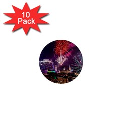 New Year New Year's Eve In Salzburg Austria Holiday Celebration Fireworks 1  Mini Magnet (10 Pack)