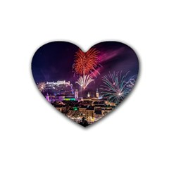 New Year New Year's Eve In Salzburg Austria Holiday Celebration Fireworks Rubber Coaster (heart)  by Sapixe