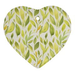 Green Leaves Nature Patter Ornament (heart) by paulaoliveiradesign
