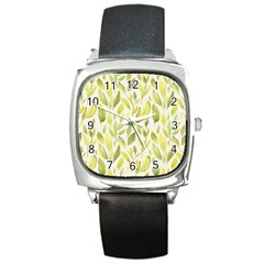 Green Leaves Nature Patter Square Metal Watch by paulaoliveiradesign